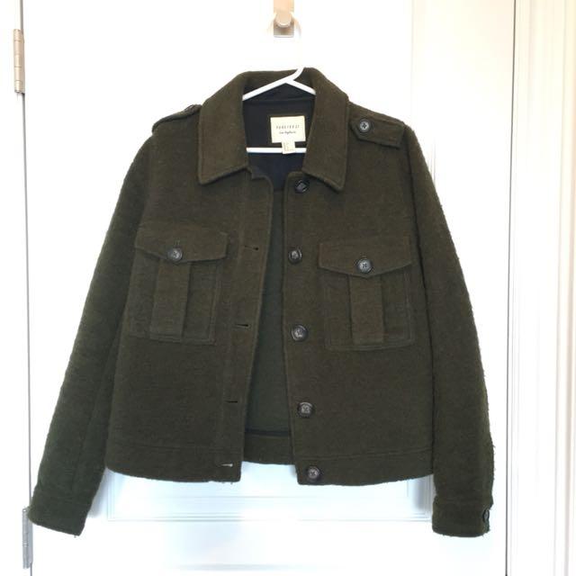 Forever21 Olive Green Wool-blend Jacket