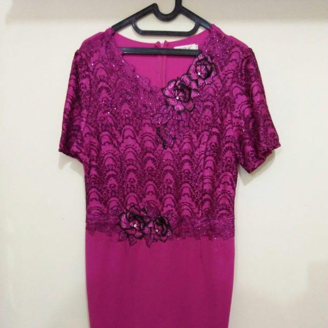Fuschia Moms Dress Gaun Pesta