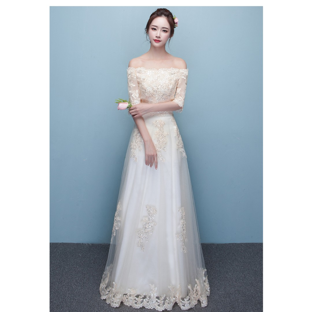 Gown Collection - Simple But Elegant Off Shoulder Mid Length Sleeves ...