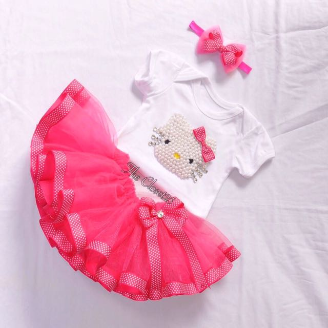 Hello kitty inspired Trim Ribbon Tutu Skirt and Hello Kitty onesie in Pearl accent