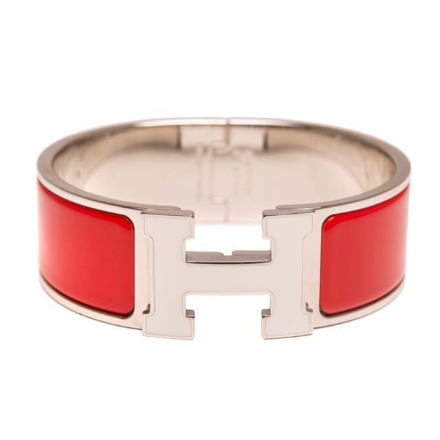 Hermes Red Enamel H Clic Clac Wide Bracelet In White Gold Luxury Accessories On Carou