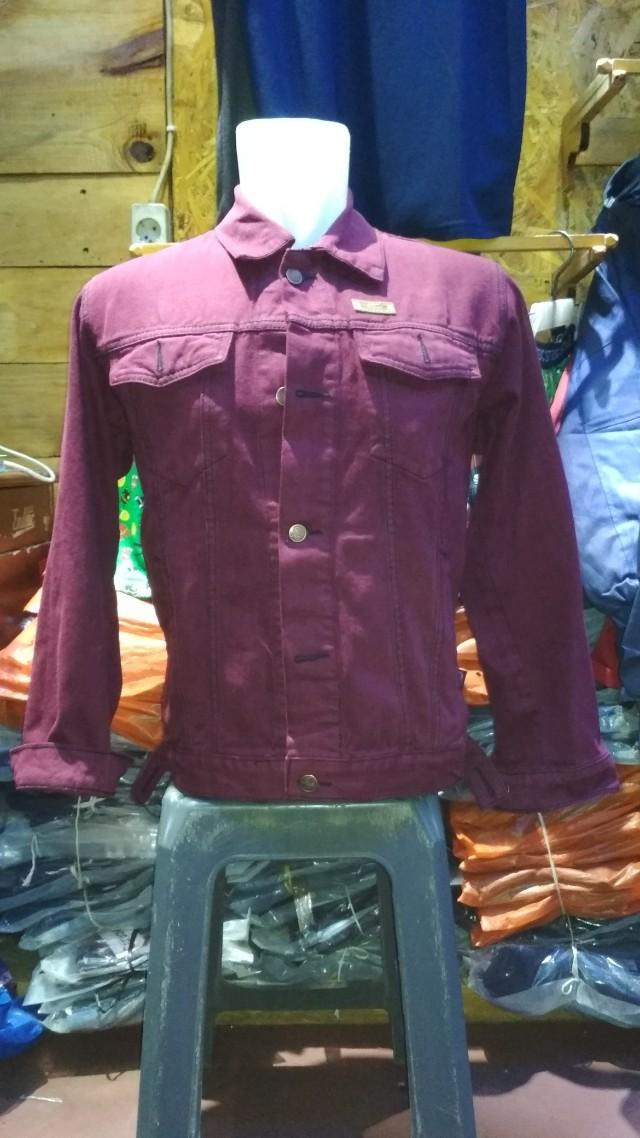 Jaket Jeans Slim fit-merah maroon