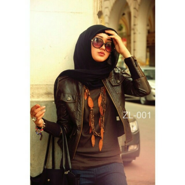 jaket semi kulit wanita hijab