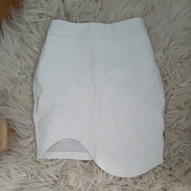 Leather pleather  white skirt