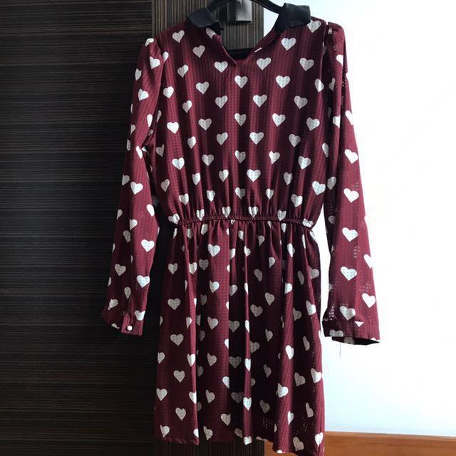 f82db641412 Maroon Hearts Vintage Dress