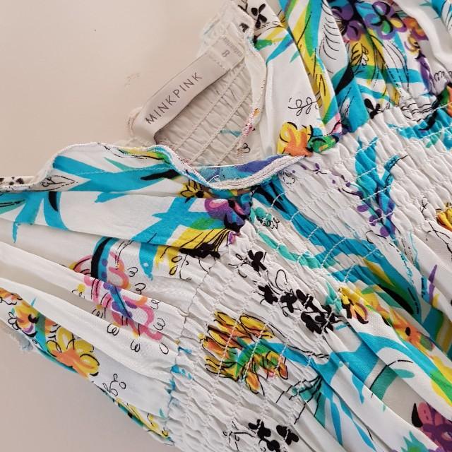 Minkpink summer flowy knee length dress with mesh