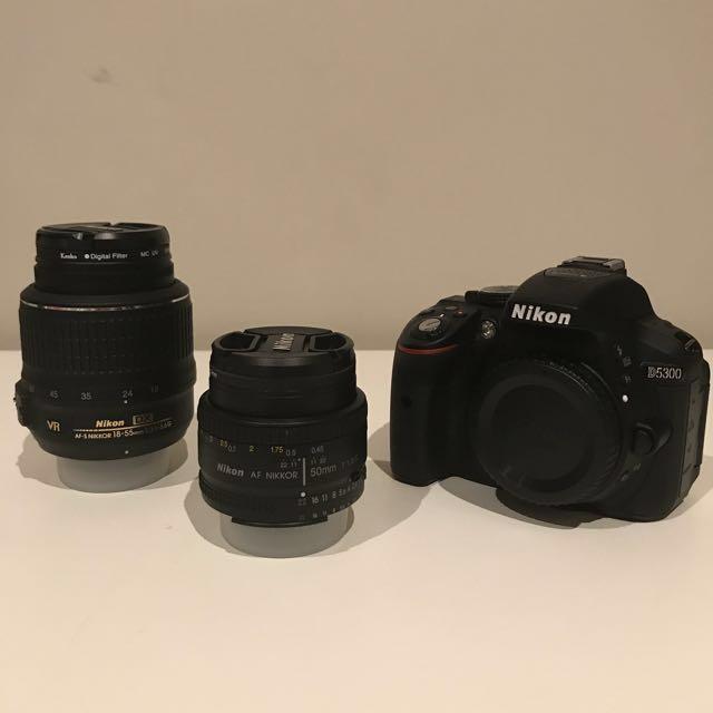 Nikon D5300 digital slr w/18-55mm lens kit + Nikon 50mm lens