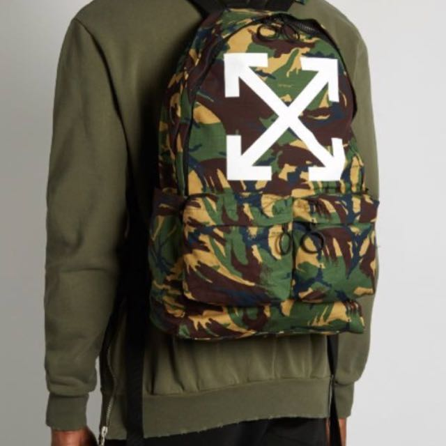 4f497b8facca4 off white camo backpack, Men's Fashion, Bags & Wallets on Carousell