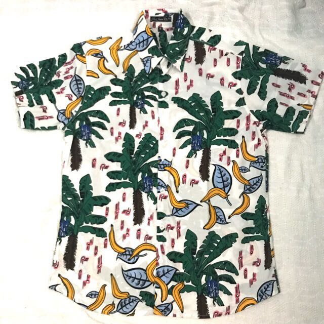 Palm Banana Mens Floral Summer Button Down Polo