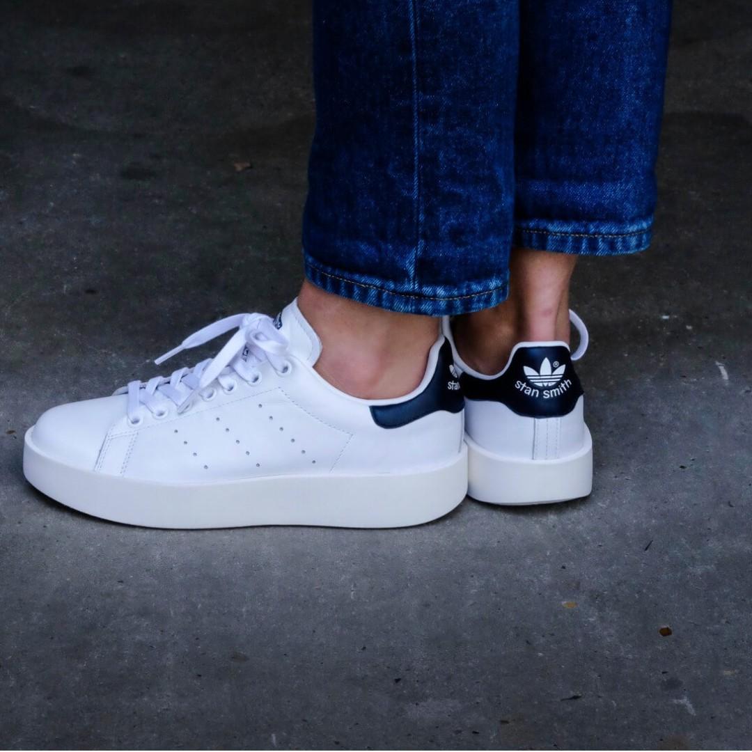 cc0f018c62cde PO) Adidas Womens Stan Smith Bold White   Collegiate Navy