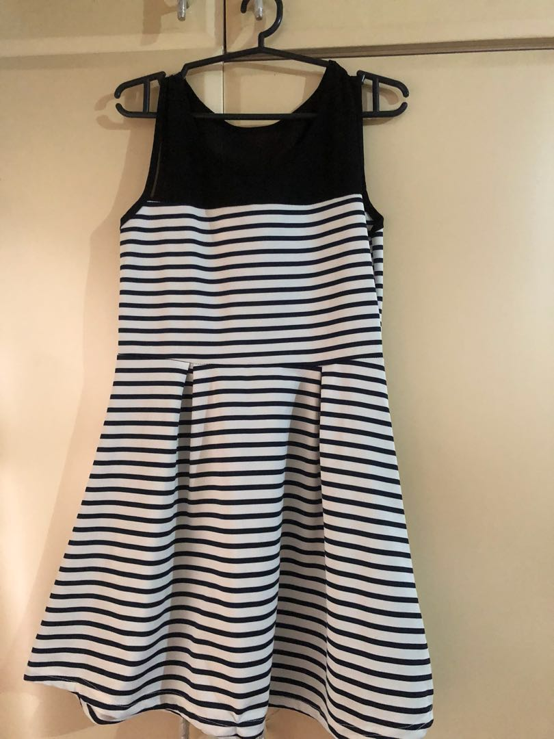 Preloved Cinderella black dress stripes