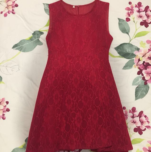 Premium Red Lace Dress with tutu lining