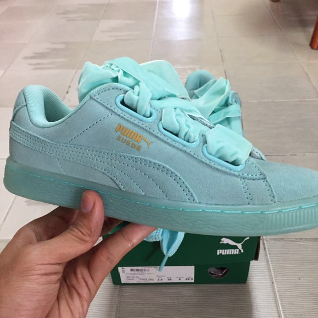 low priced 722b7 c2155 Puma Suede Heart R Blue (Mint) Women Size UK 3.5, Women's ...