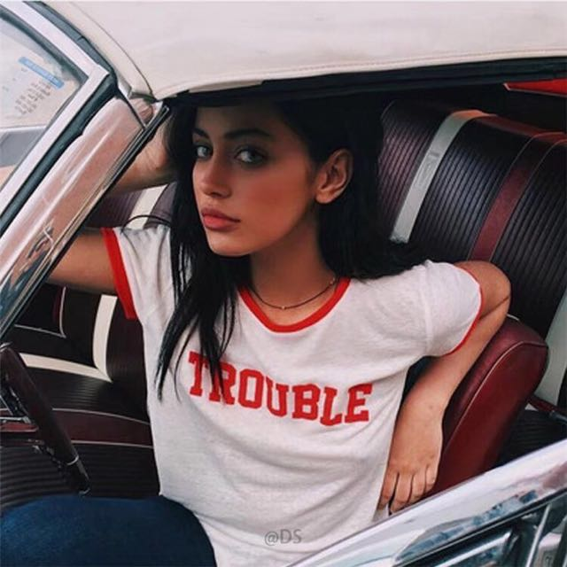 """READY STOCK """"Trouble"""" Ringer Tee Crop Top"""