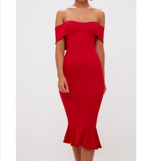 Red off shoulder frill dress