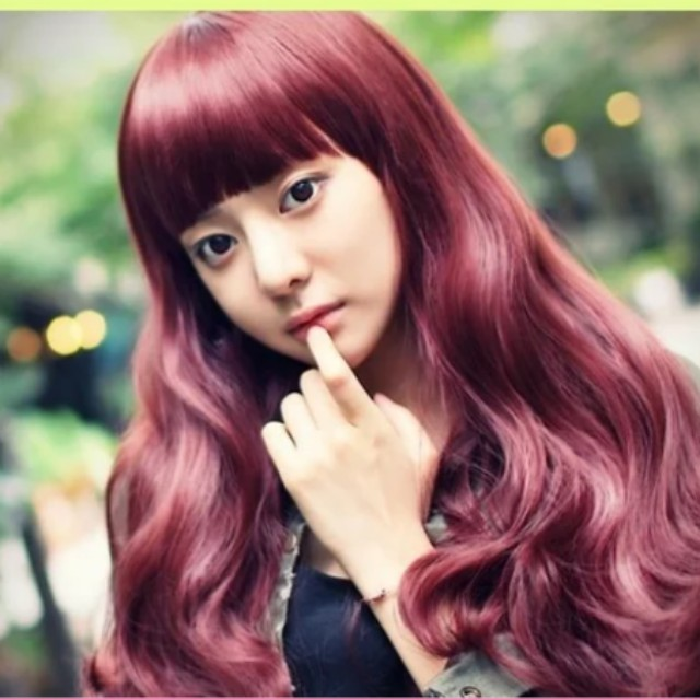 Red wine colour hair wig long