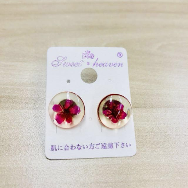 Silver Dried Flower Round Earrings