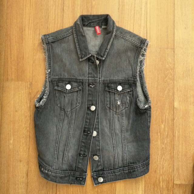 H M Sleeveless Black Denim Jacket Women S Fashion Clothes Tops On