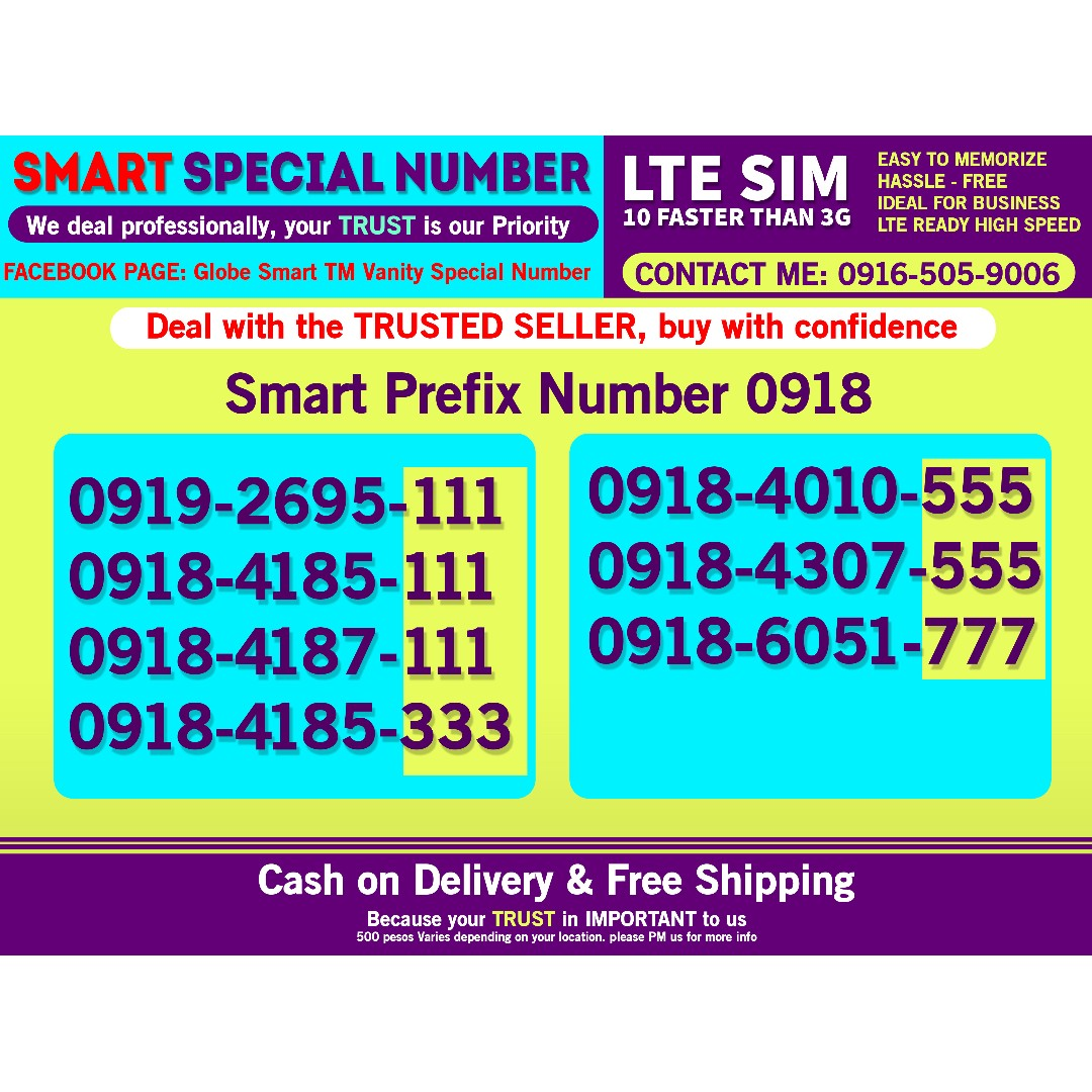 Smart Sim LTE Clasic Number 0918 and other globe