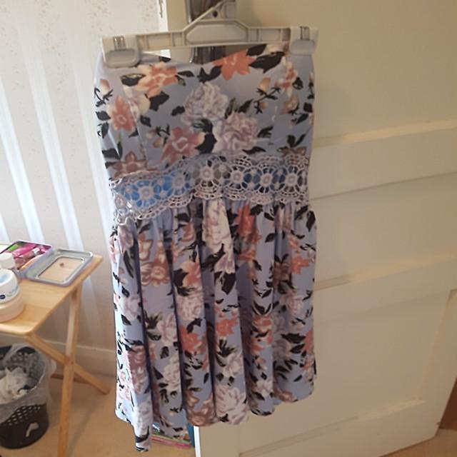 Strapless floral dress size 14 Dotti