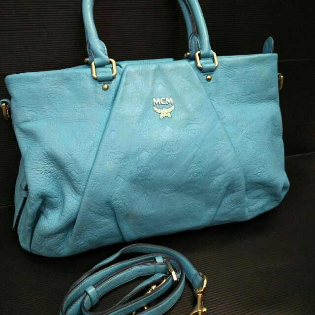 Tas MCM tote leather bag blue ocean