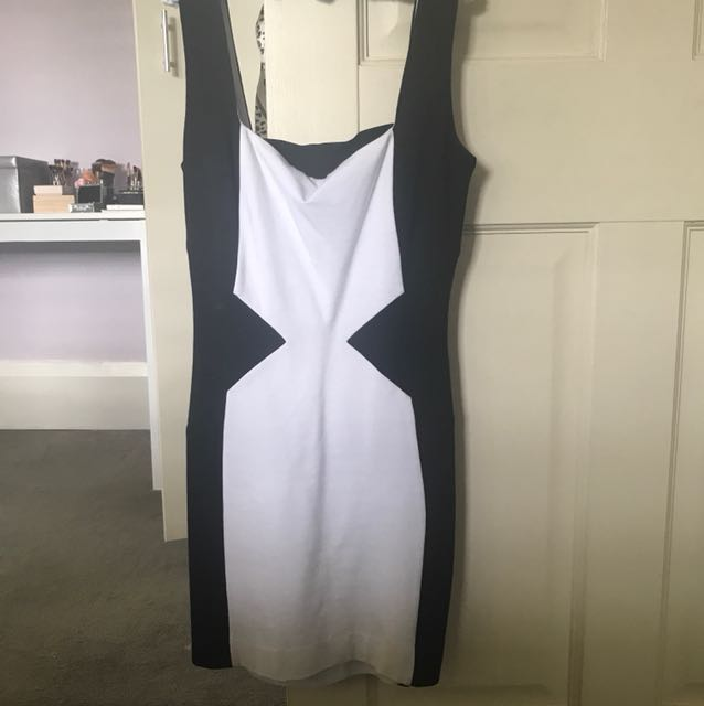 Tight black and white dress