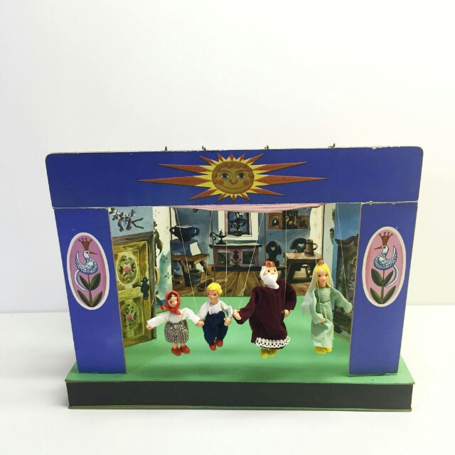 Vintage Czech Puppet Theater and Marionettes, Czechoslovakia String Puppets and Stage, Scene Marionettes, Milos Kasal Puppets Maker
