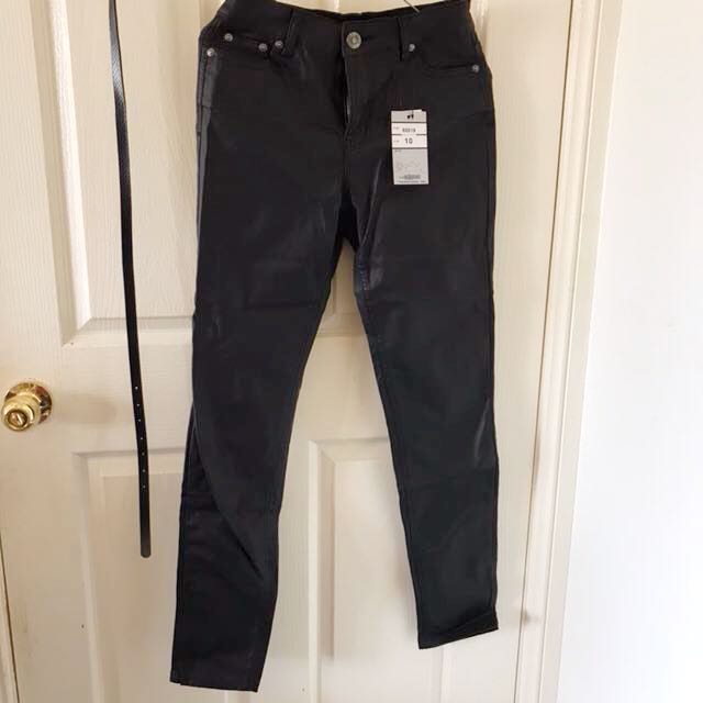 WAKEE Wet Faux Leather High Waisted Jeans