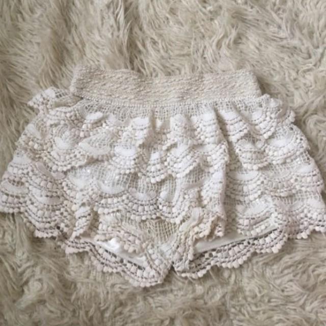 White frilly-ish shorts