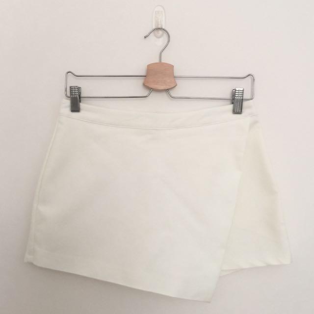White Skort Skirt Short Rok Celana Pendek Putih Kulot