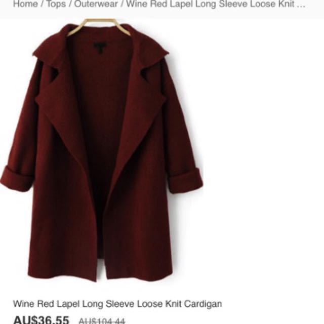 Wine red long sleeve knit cardigan