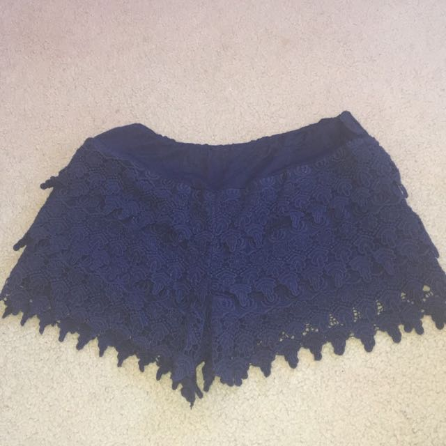 Women shorts navy blue dressy