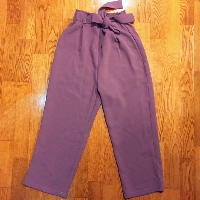 韓yourz 紫藕色綁帶寬褲