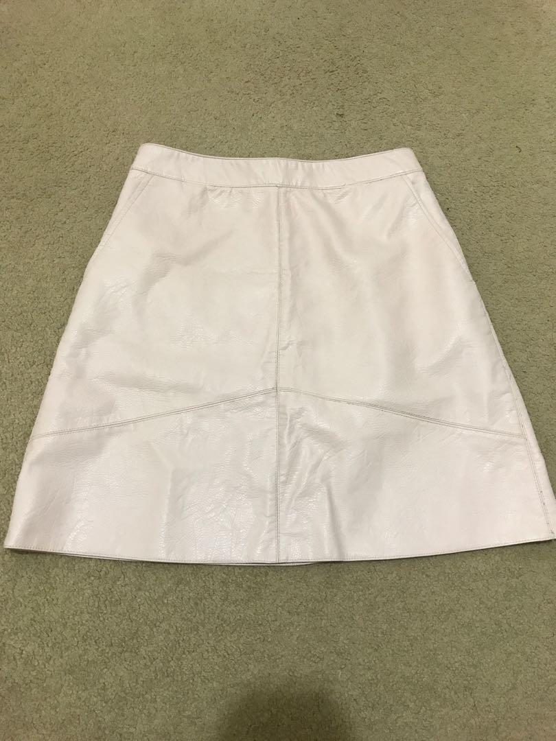 ZARA leather skirt pink