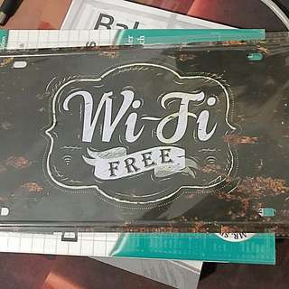 Metal Plate Free Wifi Sign