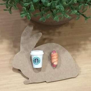 Handmade Starbucks coffee (removable cover) / hotdog bun earrings