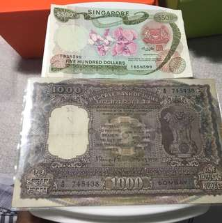 Big old Indian 1000 Rupees with A/o first Series  Note