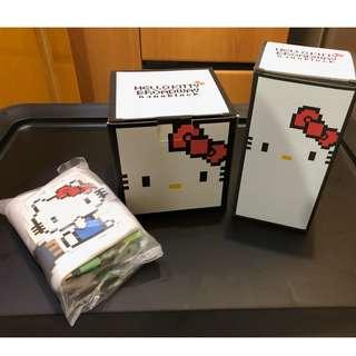 Hello Kitty nanoblock 瓷杯連杯墊 (中國) 、白色水樽(英國) 、環保布袋