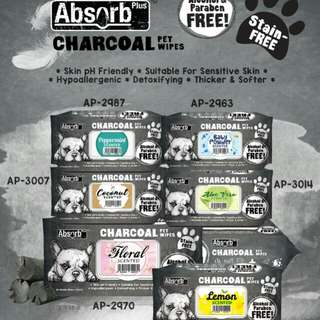 Absorb plus charcoal pet wipes BUY 1 FREE 1