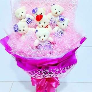 Bear Bouquet-7 Bear Bouquet In Pink