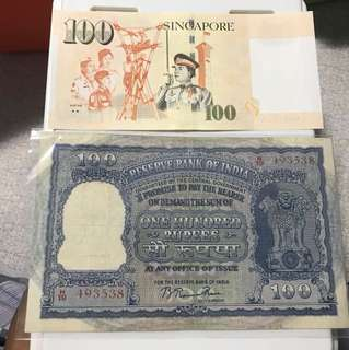 Big indian Old 100 rupess Note With b . Rama Rao  governor