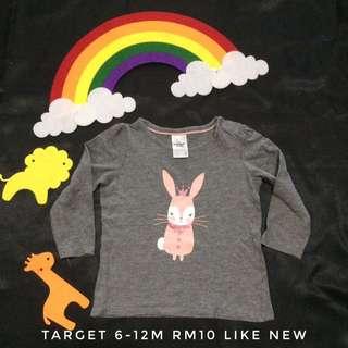 Target Bunny Grey Tee Long Sleeve (Tshirt Kanak Kanak)