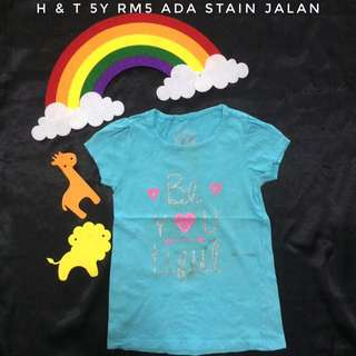 Blue Beautiful Girl Tee Shirt (Tshirt Kanak Kanak)