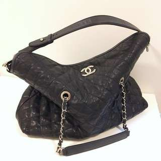 CHANEL Black Quilted Caviar Leather French Riviera Tote Bag