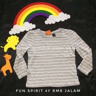Grey Stripes Girl 4y Top (Tshirt Kanak Kanak)