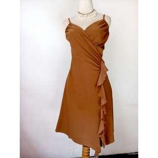 Dress pesta cotton stretch coklat LD64-94,pjg90-110,waist 70-90,hip88