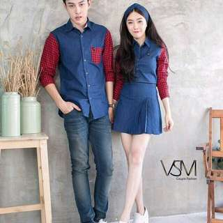 Cp tomiko denim Rp110.000 Couple denim kombi kotak.man ld100 pb70 slim fit, girl dres terusan ld98 pb90. Redi jkt