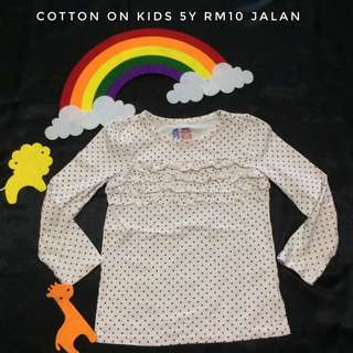 Cotton On Kids 5y Long Sleeve T-Shirt (Tshirt Kanak Kanak)