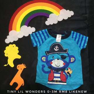 0-3month Baby Boy Blue T-Shirt (Tshirt Kanak Kanak)