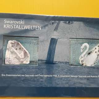 AUSTRIA - Swarovski Kristallwelten - 2004 Miniature Sheet - Beautiful Swan ( Bird ) Stamps - fd01